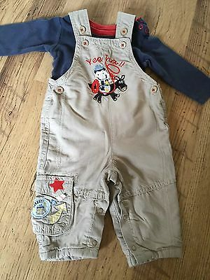 Marks & Spencer Baby Boy Dungarees With Contrast Lining & Vest 3-6 M Vgc