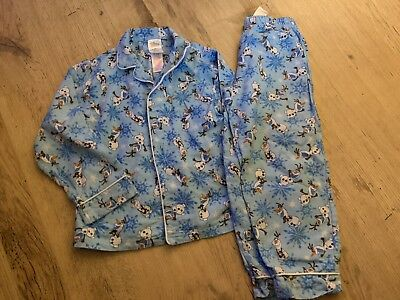 Disney Store Frozen Olaf Brushed Cotton Button Up Long Pj Pyjama Pj Set Age 5-6