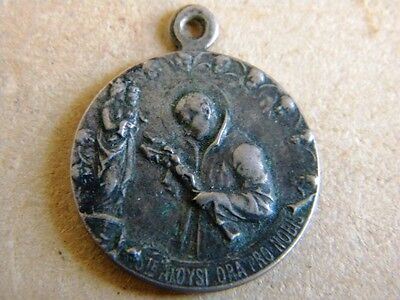 Antique Metal Medal St Aloysius Gonzaga Our Lady Virgin Mary Angels Ornate