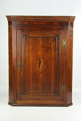 Antique Georgian Oak Corner Cupboard - Mahogany Inlaid Bathroom Hanging Cabinet