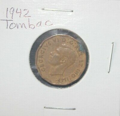 Canada NICKEL 5 cent coin TOMBAC 1942 King George VI beaver
