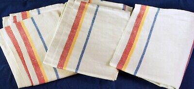 3 x Vintage  Glass Cloth Tea Towels Red Yellow Blue Stripe