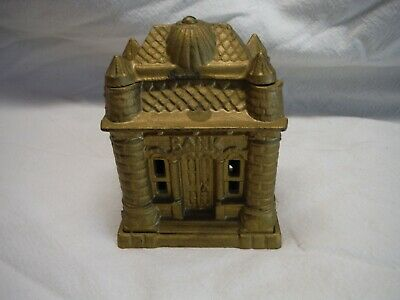 Vintage Ohio Foundry Reproduction Cast Iron Gold Painted Bank
