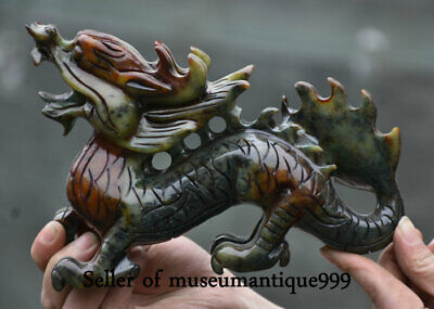 18CM Old Chinese Xiu Jade Carved Zodiac Year Dragon Animal Lucky Sculpture
