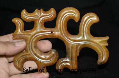 "Rare Chinese ""Hong Shan"" Culture Old Jade Carved ""Gou Yun Pei"" Figure L 14 cm"