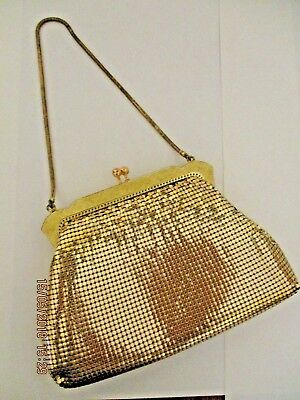 ~VINTAGE ORIGINAL OROTON GOLD MESH EVENING/HAND BAG in ORIGINAL BOX - VGC~