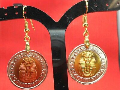 Rare Vintage King Tut Uncirculated Coins Handmade Earrings Golden Apple Dynamics