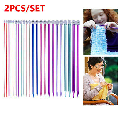 2-10MM Aluminum Knitting Needles Single Point Straight DIY Sewing Weaving Acces