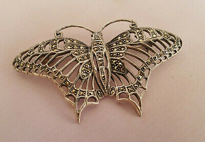 Sterling Silver Marcasite Butterfly Brooch Openwork Insect Beautiful Signed