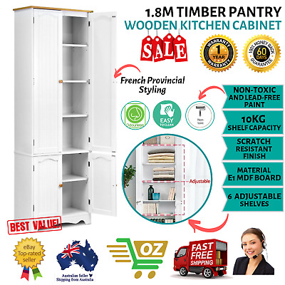 1.8m Wooden Kitchen Pantry Cabinet Storage Tall Cupboard 6 Shelves 4 Doors White