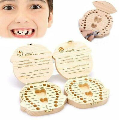 Storage Small Kids Childs New Baby Tooth Keepsake Wooden Boy Girl Box Save S8O8