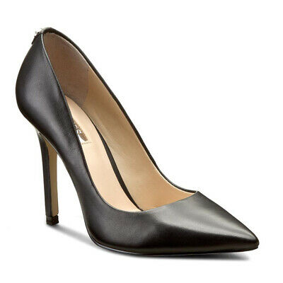 GUESS DECOLLETE IN Pelle Nero Scarpe Donna Tacco Stiletto