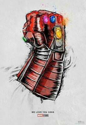 "Avengers: Endgame Movie Re Release Love You 3000 Poster 24x36"" Art Silk Print"