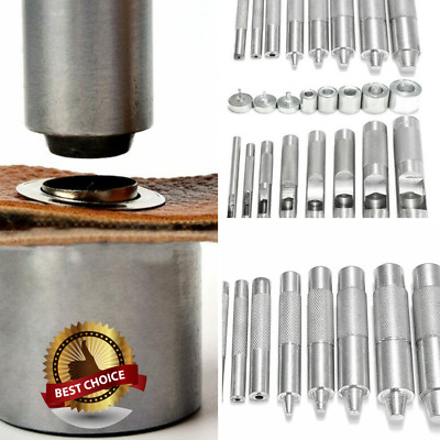 Metal Leather Punch Hole Craft Tool Die Snap Fastener Button Rivet Setter 1 Set