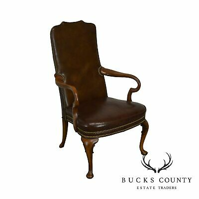 Hickory Chair Brown Leather Vintage Mahogany Queen Anne Armchair