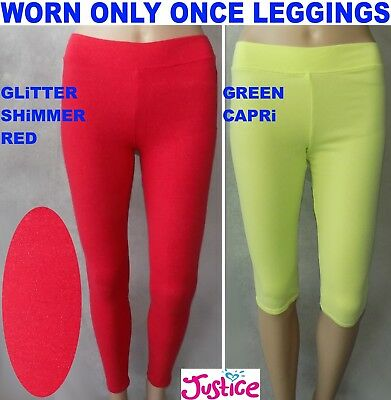 WORN ONLY ONCE: Justice Kids Lot 2 Leggings: Metallic Red 18, Green Capri 16-18