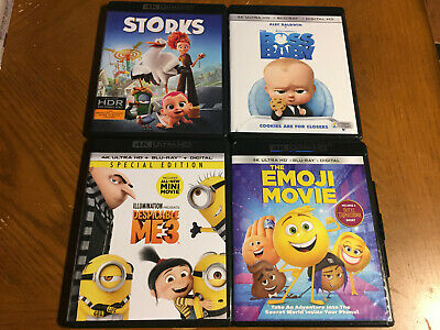 Storks Boss Baby Emoji Movie Despicable Me 3 LOT KIDS 4K Ultra HD discs ONLY