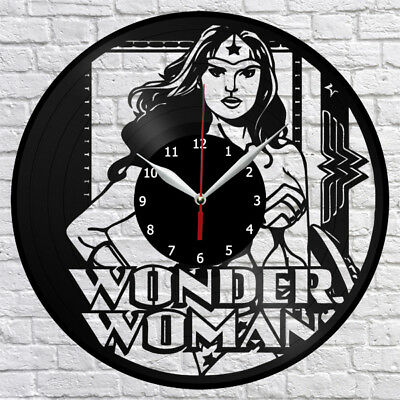 Wonder Woman Vinyl Record Wall Clock Decor Fan Art Original Gift Handmade 3707