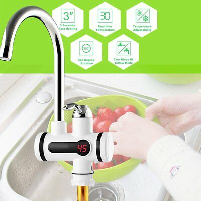 3KW Electric Tankless Instant Hot Water Heater Faucet Kitchen Heater Tap EU Plug