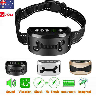 AU Rechargeable Dog Anti Bark Collar Stop Barking Pet Friendly Auto Trainer Tool