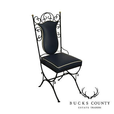1950's Vintage Custom Quality Scrolled Wrought Iron Side Chair