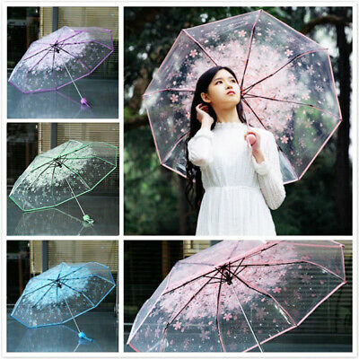 Transparent Clear Flower Umbrella Windproof Rain Protect Sakura Folding Umbrella