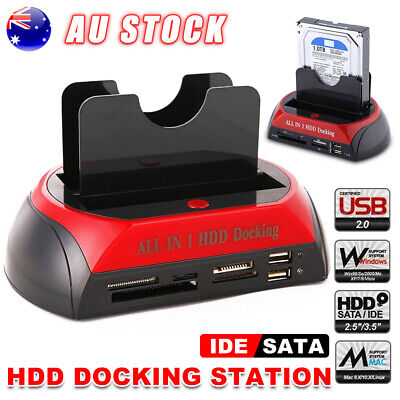 "HDD Docking Station 2.5""/3.5"" SATA IDE Hard Disk Drive Clone USB HUB Card Reader"