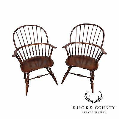 Nichols & Stone Pair Traditional Rockport Windsor Armchairs (B)