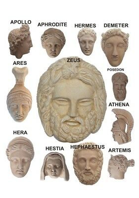 (1 piece)  Zeus, hera , aphrodite,….  (12 greek ancient Olympus gods)   faces