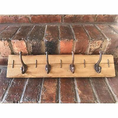 Vintage Wooden Cast Iron Coat Rack 4 Wall Storage Hooks CLEARANCE BARGAINS