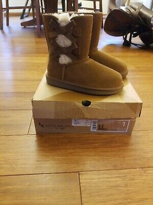 aa6ef8f56afff Koolaburra by UGG Girl's Victoria Short size 1 Fur Lined Boots Chestnut  brown