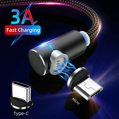 Magnetic LED 1M 2M Type C Micro USB Fast Charger Data Cable For Samsung Huawei