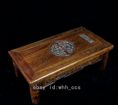 """13.6"""" China old antique Rosewood carving Grass dragon pattern Enshrined table"""