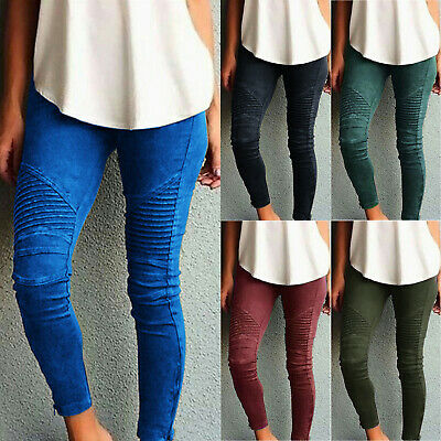 Womens High Waist Jeans Trousers Ladies Skinny Stretch Pants Jeggings Plus Size