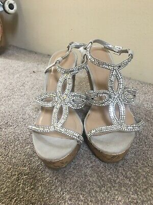 Ladies Girls Sandals High Wedge  Size UK 3  Look Sparkly Jewels Used Once