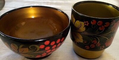 Russian Khokhloma Lacquered Set Of 2 Bowl & Cup Red, Black & Gold*