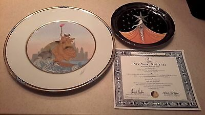 Erte Statue Of Liberty Fine China Charger Plate & Smaller Ny Ny Plate Set Mint