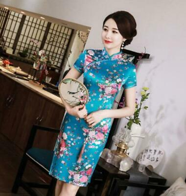 Fashion Chinese Ladies Qipao Traditioanl Evening Prom Gown Cheongsam Floral Dres
