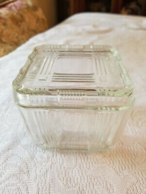 "Hazel Atlas Vintage Clear Refrigerator Box with Lid 4"" Square Art Deco Style"
