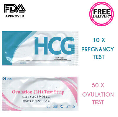 Fertility Urine Kits  Ovulation Tests x 50 Pregnancy Test Strips x 10
