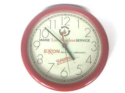 Exxon Clock Vintage Wall Clock Maine Red Plastic Superflo Collectible 1970s Shop
