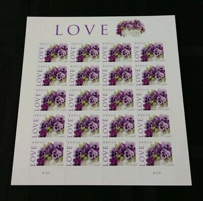 Love Stamp Sheet Of 20 44C Stamps Flowers