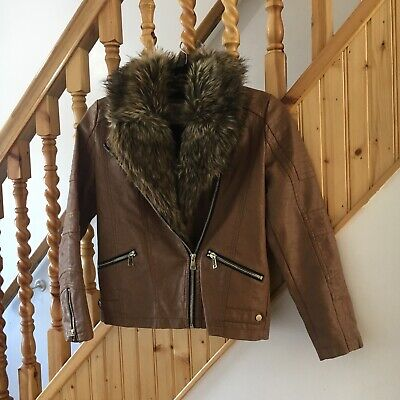 Girls tan leather look river island jacket age 12