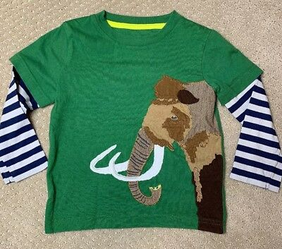 EUC Boden  Green long sleeve  t shirt top Boys Embroidered  MAMMOTH Size 3/4