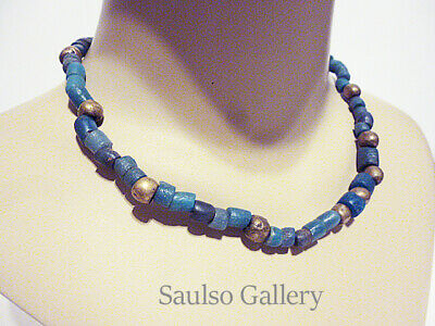 Ancient Egyptian blue glass necklace from prominent estate collection