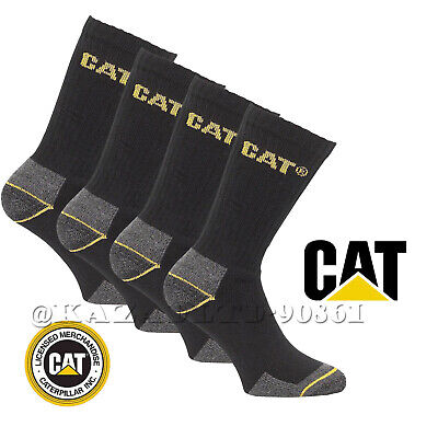 CAT Caterpillar Mens Black Heavy Duty Industrial Crew Work-wear Socks Size 6-11