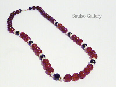 Early 14KT Garnet,Carnelian, Pearl, necklace from prominent estate