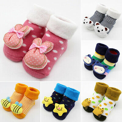 Cute Baby Socks Warm Cotton Soft Slipper Booties Newborn Boys Anti-slip Toddler