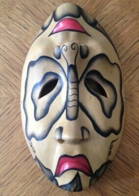 Hand Carved & Hand Painted Butterfly Wooden Theatre Face Mask - Tragedy & Comedy