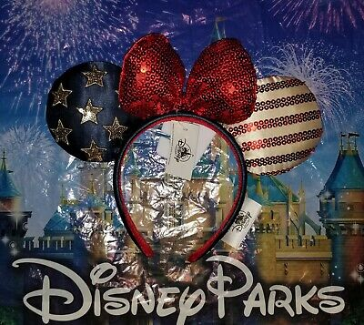 Disney Parks Americana Stars and Stripes 4th of July Minnie Mouse Ears Headband